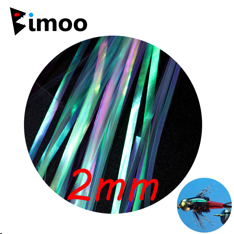 Bimoo 2Bag 2mm Pearl Flashabou Holographic Tinsel Stonefly Nymph Back Streamer Jig Lure Fishing Fly Tying Material