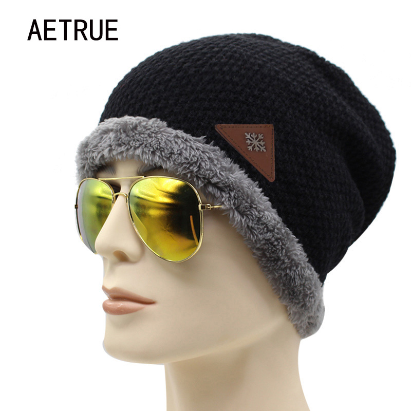 AETRUE Winter Beanies Men Knitted Hat Winter Hats For Women Men Beanie Skullies Fur Bonnet Warm Plain Flat Baggy Wool Knit Cap 2016 bonnet beanies knitted winter hat caps skullies winter hats for women men beanie warm baggy cap wool gorros touca hat