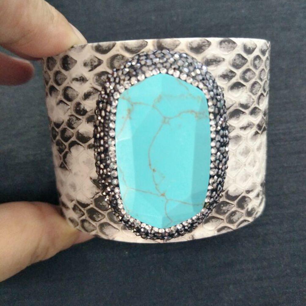 50mm White Snakeskin Cuff Bangles Unisex Wide Bangle Personality Bracelets for Women Bangle with Nature Stone Vintage Jewelry glitter stone open cuff bangle