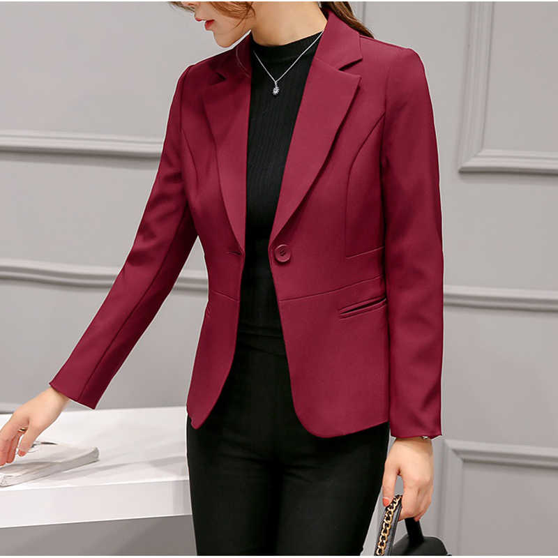 2019 Blazer Femme Áo Khoác Nữ Blazer Màu Hồng Dài Tay Áo Khoác Thể Thao Rắn Một Nút Áo Mỏng Phụ Nữ Văn Phòng Áo Khoác Nữ Tops phù hợp với