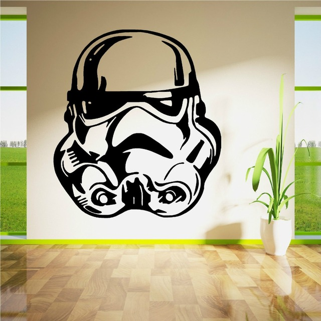 Star wars wall decals strom trooper face vinyl wall sticker home kids room art decoration wall