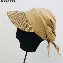 Новая женская шляпа от солнца, тканая соломенная шляпа с козырьком, Лоскутная дышащая тюрбан из хлопка, бейсболка, Стильная летняя кепка, Повседневная Уличная пляжная кепка