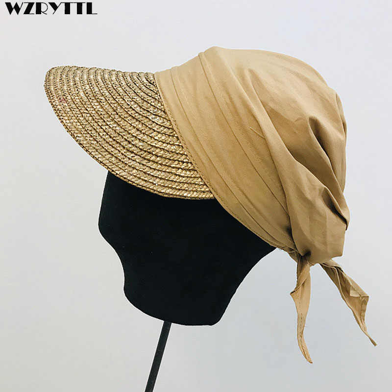 3bcd07d03158c1 Detail Feedback Questions about New Women Sun Cap Woven Straw Hat Visor  Patchwork Breathable Cotton Turban Hat Baseball Style Summer Cap Casual  Street Beach ...