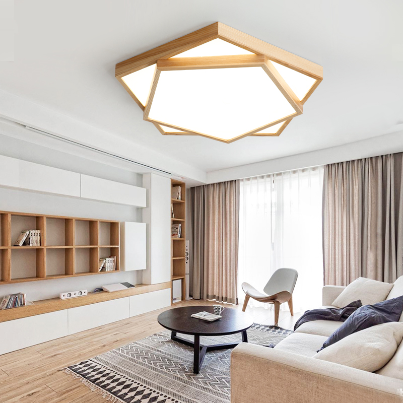 US $69.69 31% OFF|Japanese style living room led ceiling lamp simple modern  solid wood Nordic wood geometric atmosphere home bedroom lamp-in Ceiling ...