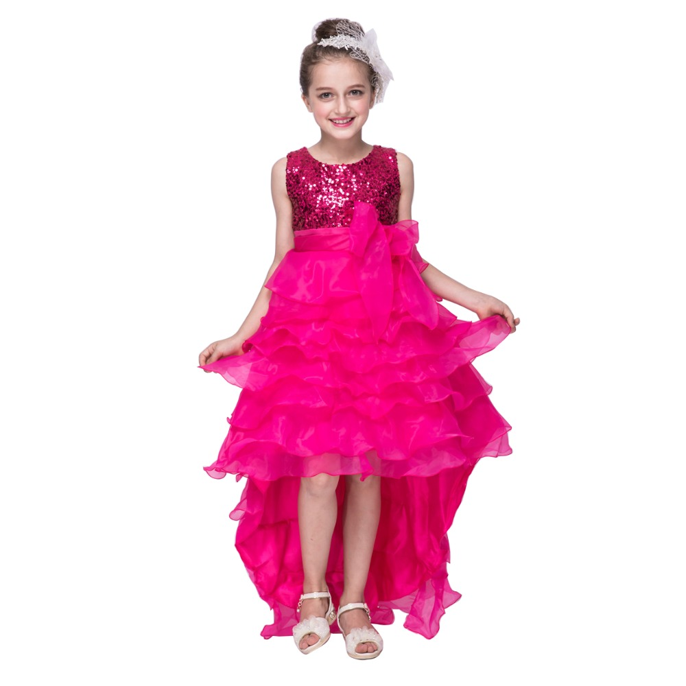 Elegant Short To Long Wedding Dresses With Flower Bow Girls Sequins Party Princess Dress Children Hot Pink Red Beige Lavenderin From Mother Kids: Magenta Short Wedding Dresses At Websimilar.org