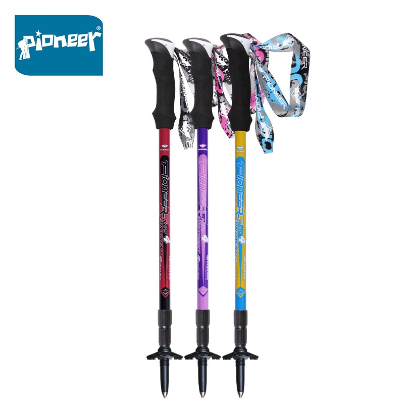PIONEER 1 Pair Trekking Poles Carbon Fiber Ultralight Anti Shock Canes Walking sticks For Hiking Camping