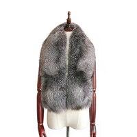 Real fox fur collar scarf Natural color silver fox shawl Fashion wild fox fur collar scarfs fox whole skin made scarf 8 color