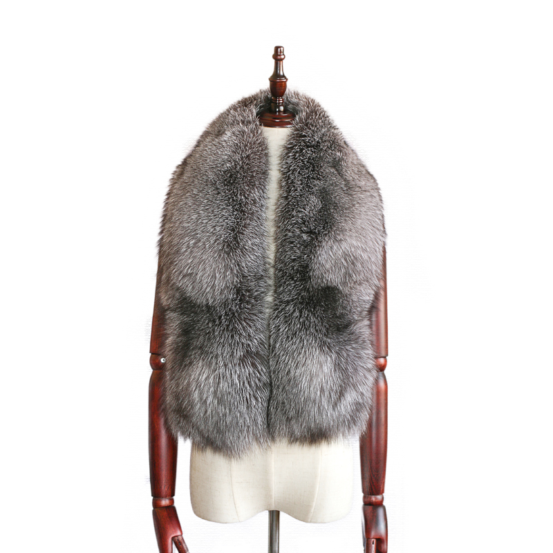 Real Fox Fur Collar Scarf Natural Color Silver Fox Shawl Fashion Wild Fox Fur Collar Scarfs Fox Whole Skin Made Scarf 8 Color
