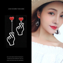 2019 New S925 Silver Needle Korean Individual Fashion Hollow-out Asymmetric Gestures Earrings