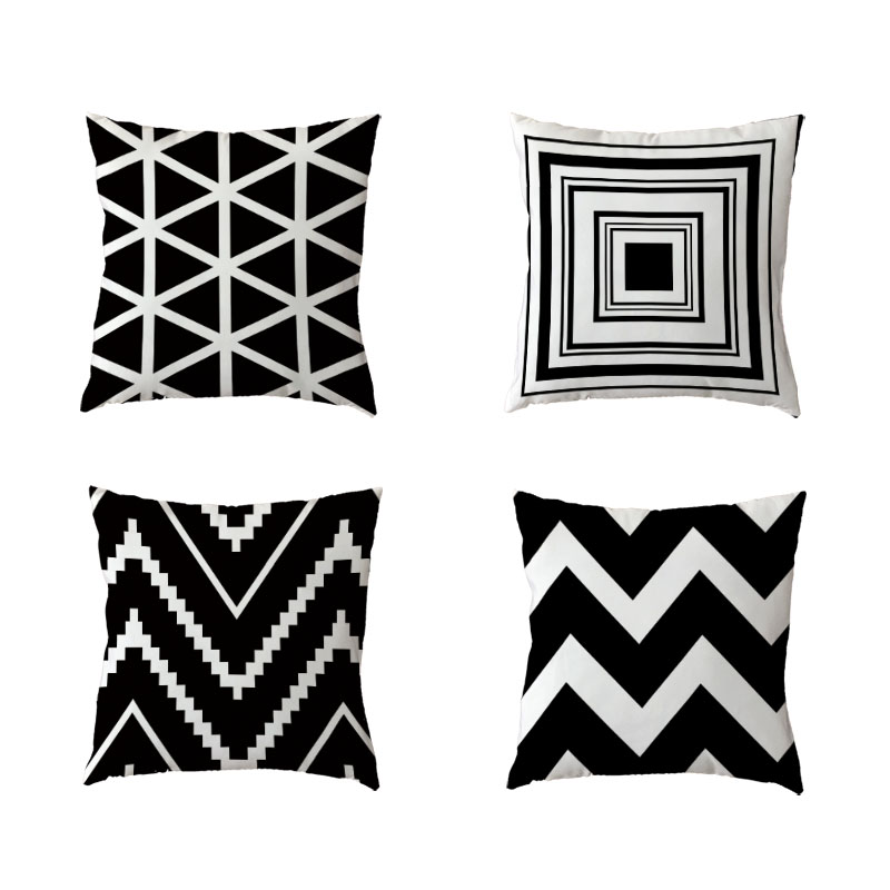 ᗛNordic Style Simple Polyester Peach Skin Black And White Striped ...