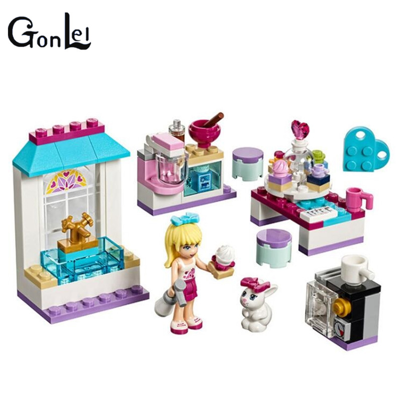 GonLeI 97pcs Friends Stephanie's Friendship Cakes Building Blocks set Girls Bricks toys Christmas Gift Compatible lepin 41308 конструктор lego friends кондитерская стефани 41308