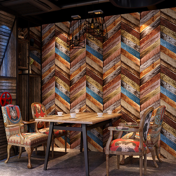 Vintage Wallpaper Modern 3D Embossed Imitation Wood Texture Wall Paper Rolls For Walls Restaurant Cafe Background Wall Cocvering