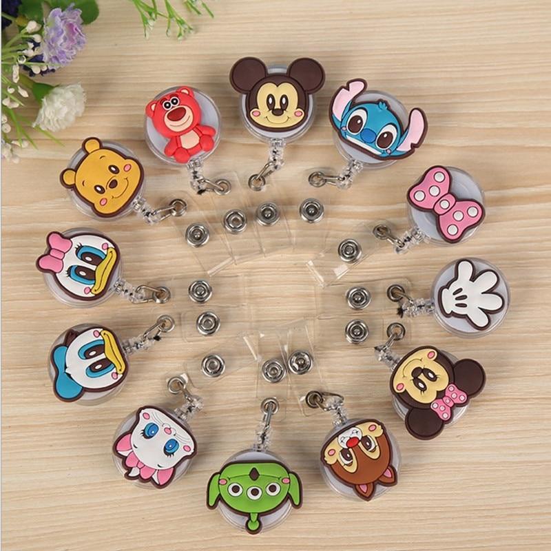 Wholesales 50 Pieces lot Quality Retractable Nurse Badge Reel Cartoon Mickey Minnie Stitch Bear Students ID