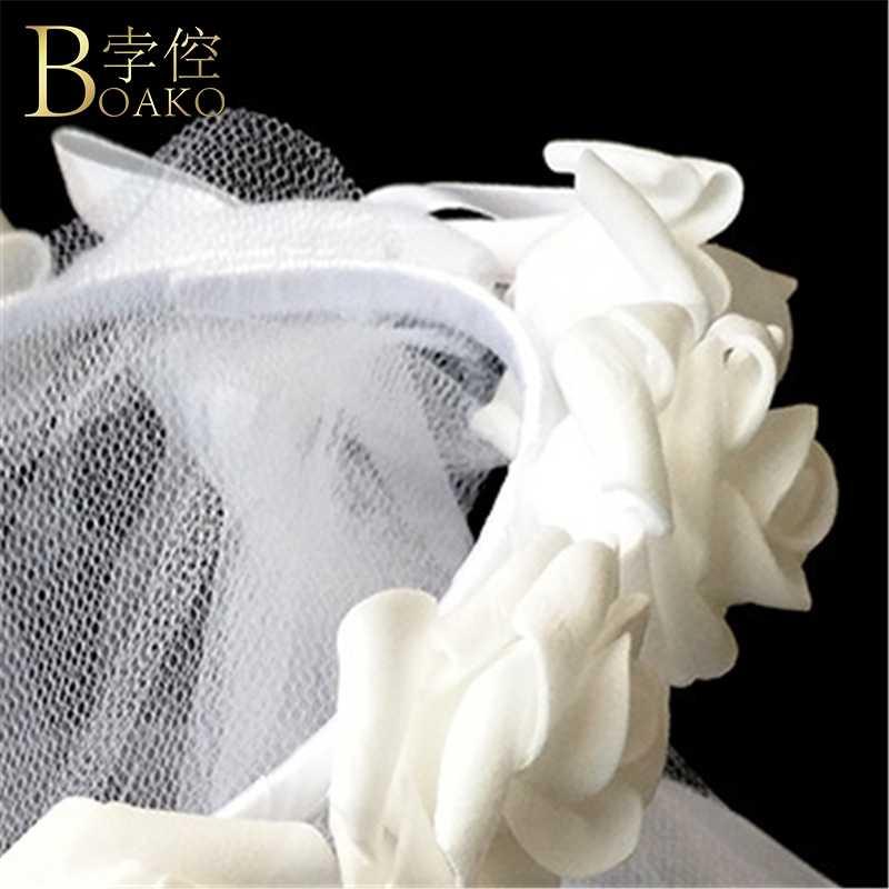 BOAKO Wreathed Veli da sposa Accessori Da Sposa di Laurea del partito di velare di rosa corona di fiori hairband Velo Da Sposa Sposa Hairdress K5