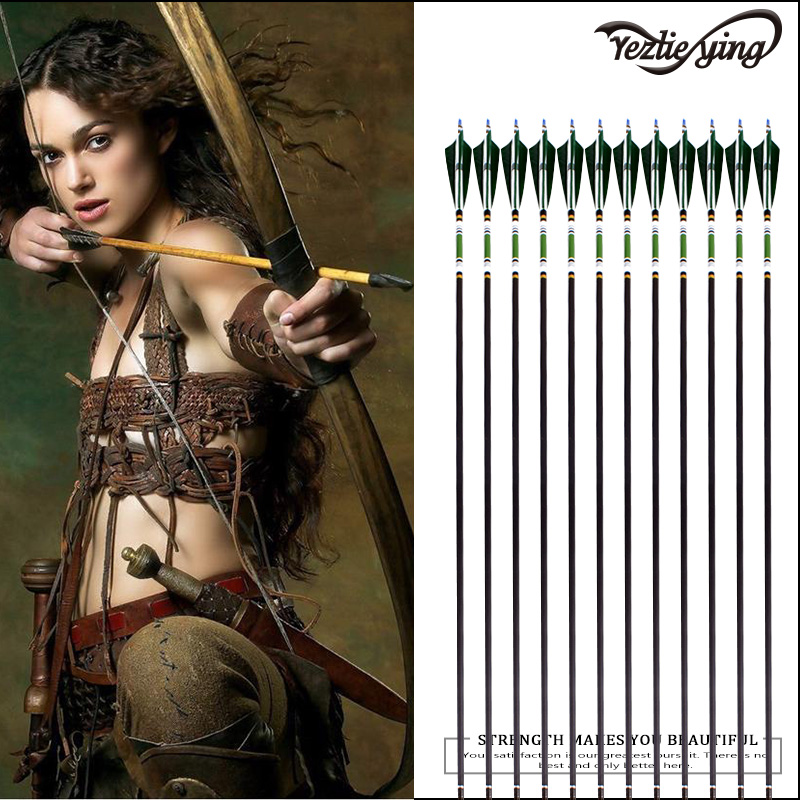 Outdoor Hunting 12PCS 31 5Inch Pure Carbon Arrows Dark Green Turkish Feather Compound Recurve Bow Crossbow Hunting Archery Arrow in Bow Arrow from Sports Entertainment