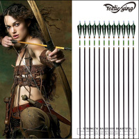 Outdoor Hunting 12PCS 31.5Inch Pure Carbon Arrows Dark Green Turkish Feather Compound/Recurve Bow Crossbow Hunting Archery Arrow