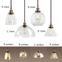 Amber Clear Glass Shade Ceiling Light Industrial Chandelier Lighting Kitchen Island Pendant Light Vintage Pendant Ceiling