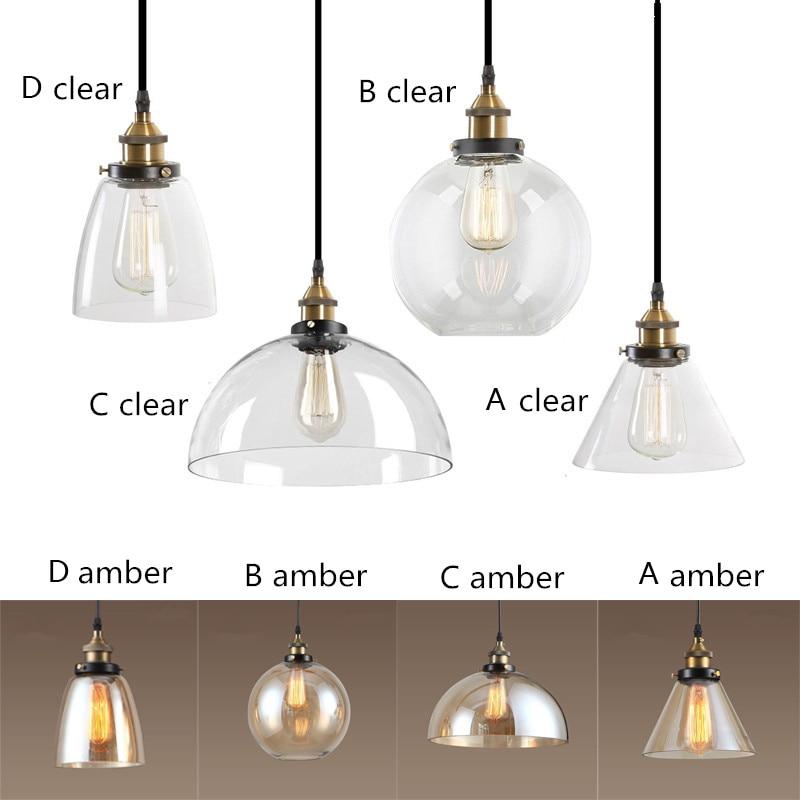 Amber/Clear Glas Shade Hanglampen Industriële Verlichtingsarmaturen Keuken Thuis Moderne LED Licht Vintage Hanger Plafondlamp