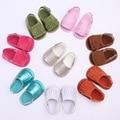 8 Colores Del Color Del Caramelo de 2016 Del Nuevo Verano PU Suede zapatos de Cuero Infantil Mocasines Moccs Suaves del niño del Bebé Zapatos del Pesebre del Bebé Zapatos de Suela Suave
