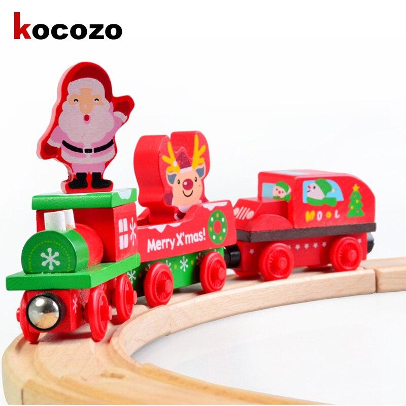 De noël En Bois Train De Noël Cadeau Innovant pour Enfants Sous Pression et Véhicules Jouets Charme Belle Santa Arbre Train Jouet pour Enfant