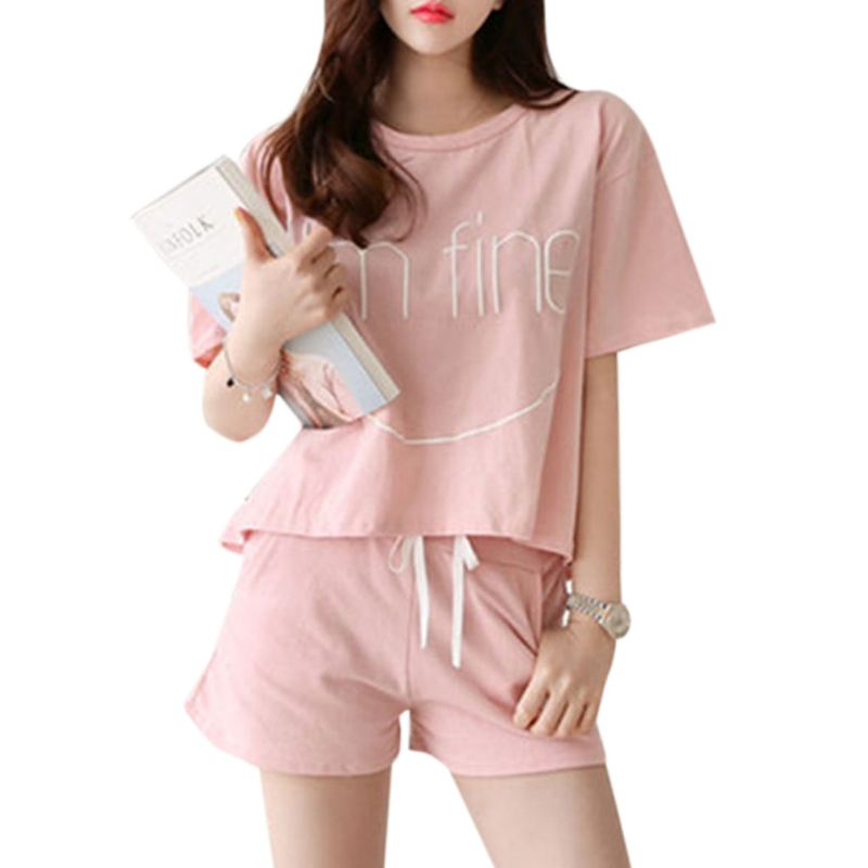 Hot New 1   Set   Women's Letter Print   Pajamas     Set   Summer Round Neck Short Sleeve Lady Girls Sleepwear Home Night Wear Cute Soft