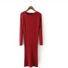 2017 Для женщин Длинный свитер платье весенние пикантные тонкий Платья для женщин эластичные узкие Разделение платье краткое вязаное платье dr458