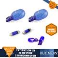 2PCS T10 501 Sidelight + 2PCS T20 W21/5W DRL Lamp 7443 + 2PCS C5W 36MM Natural Glass Blue Super White 5000K Auto Lamps