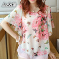 2016 Verano Nuevo Estilo de Impresión Floral Camisas Blusa de La Gasa Mujeres Tops Batwing Manga Corta Camisa Elegante Camisa Suelta Más El Tamaño