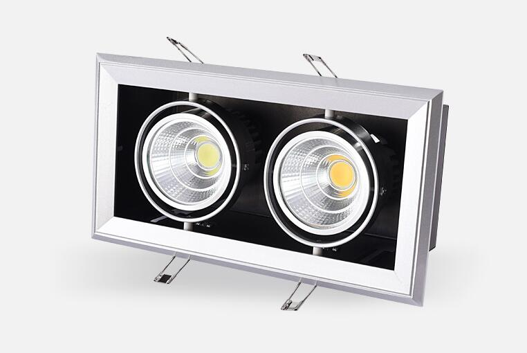 6pcs/lot Double Grille spotlight Dimmable Recessed LED downlight COB 2x12W 3x12w dimming led ceiling lamp AC85-265v 12w led grille lamp ac85 265v 210 210mm four heads recessed spots grille lights indoor commercial office led lattice lighting