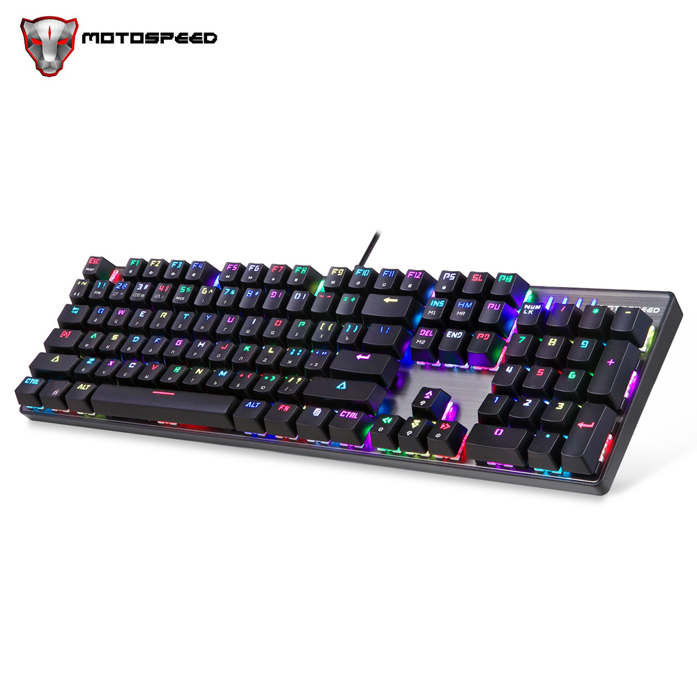 Motospeed CK104 104 Keys USB Wired RGB Backlight Mechanical Gaming Keyboard Gaming Russian Layout Letters Anti