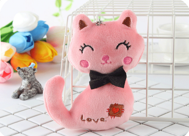Animal Stuffed Kitty Cat Key chain TOY 6