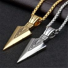 2019 Fashion 3colors Vintage Necklace Men Arrow Pendant Simple Chain Bead Arrow Long Men Necklaces Jewelry Gift Arrow Necklace