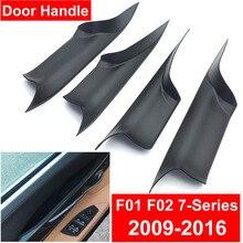 Дверные ручки для салона автомобиля для BMW f01 f02 7-Series задняя Передняя Левая Правая внутренняя Дверная панель Ручка из углеродного волокна Черная накладка