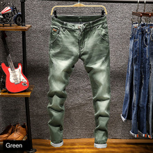2018 Newly Fashion Men Jeans Slim Fit Elastic Pencil Pants Khaki Blue Green Color Cotton Brand Classical Jeans Men Skinny Jeans недорго, оригинальная цена