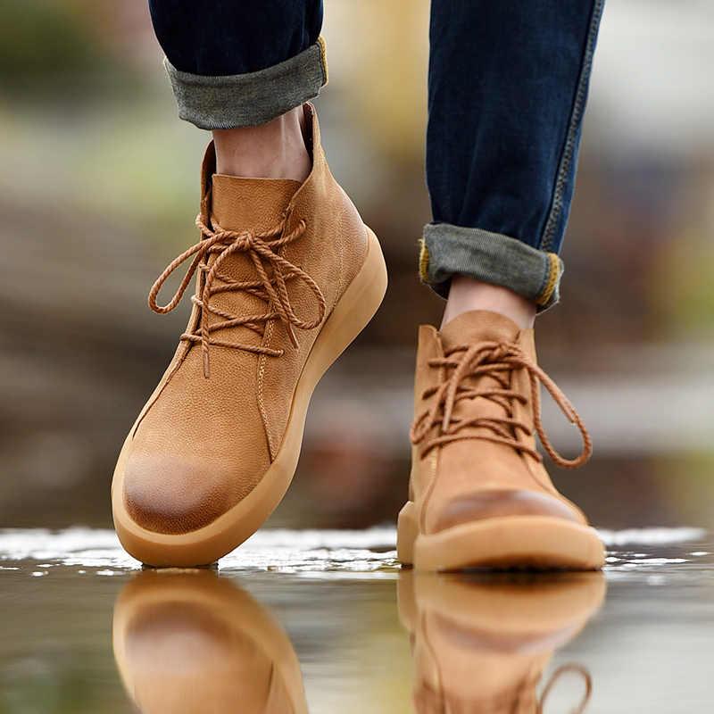 Vintage moda erkek Chelsea çizmeler sonbahar kış inek derisi günlük ayakkabı yuvarlak ayak bölünmüş deri bileğe kadar bot dantel-up iş ayakkabısı