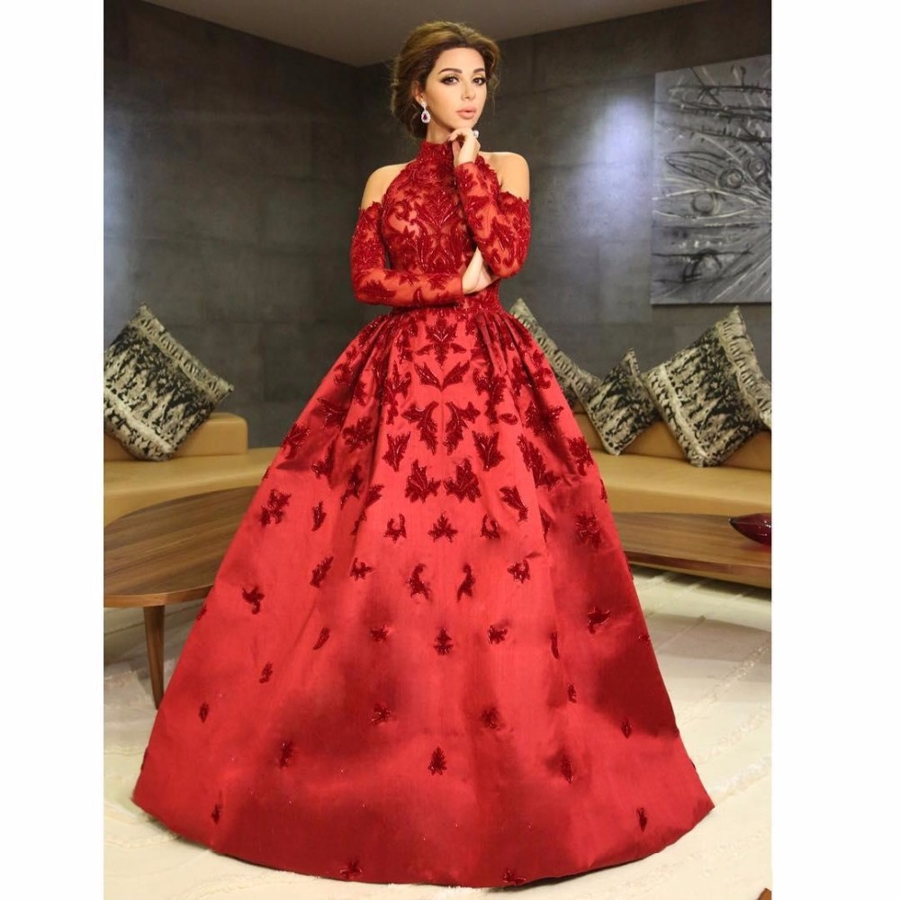 f0463b0b7ca 2017 Fashion Red A Line Evening Dresses High Neck Long Sleeve Party Evening  Gown Prom Dresses Christmas Women s Formal Gown-in Evening Dresses from  Weddings ...