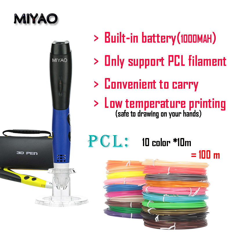 MIYAO Newest 3D scribble pen, with PCL filament(100meter)3D printing Low temperature pen,safe for kids to drawing on hands