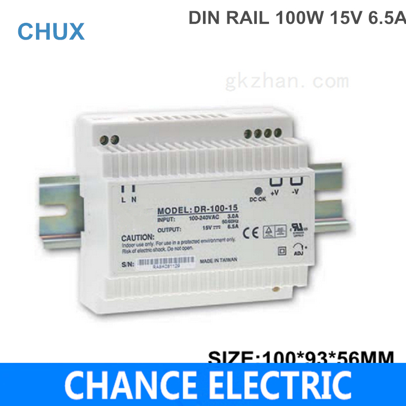 DIN Rail Industry  DC Switching mode Power  Supply DR 100W 15V for cnc  led light  Direct Selling (DR100W-15V) ac dc dr 60 5v 60w 5vdc switching power supply din rail for led light free shipping