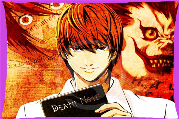 Hot Sale Classic Anime Death Note Rectangle Pillowcases zipper  Fashion Custom Pillow Case 45x35cmSQ00707-@H077