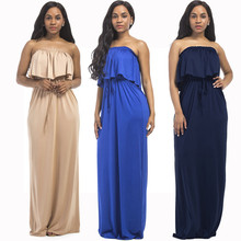 Summer new Middle Eastern fashion temperament large solid color wrapped chest loose wide leg casual sexy female fat MM dress