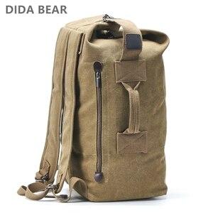 Image 1 - 대용량 배낭 남자 여행 가방 등산 배낭 남자 짐 캔버스 양동이 어깨 가방 남자 배낭