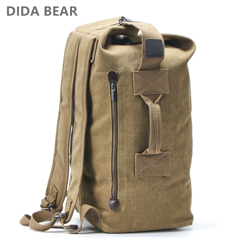 Image 1 - Large Capacity Rucksack Man Travel Bag Mountaineering Backpack Male Luggage Canvas Bucket Shoulder Bags for Boys Men Backpacks-in Backpacks from Luggage & Bags