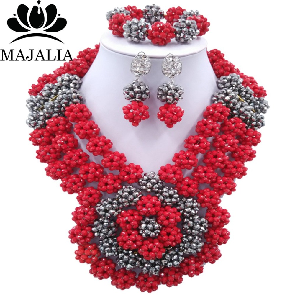 Fashion Nigeria Wedding african beads jewelry set Opaque Red Crystal necklace bracelet Bridal Jewelry sets Free shipping GG-1347 цена