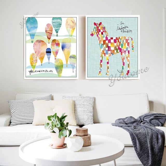 Детская Комната Печать Стены Искусства Для Гостиной Декоративный, свободный лошадь плакаты, дети живопись картины, лошади живопись холст, ребенок лошадь