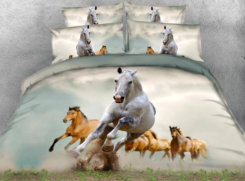 JF 087 Majestic White Running Horse queen size duvet cover set 3d BED SET