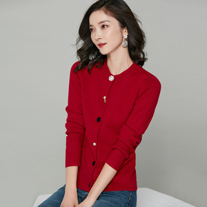 Image 2 - 2018 New Arrival Women Chic Cardigans Pearl Decoration Buttons Knitted Cotton Cashmere Solid Color Wild Slim Jacket kz353
