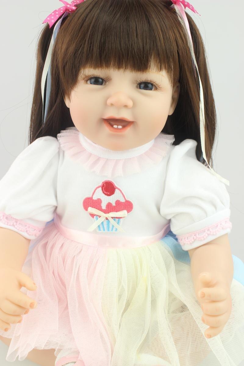 55 cm 22 pouces Silicone bébé poupées reborn poupée longhair princesse mode doux réel comme nouveau-né poupée enfants anniversaire présent jouets