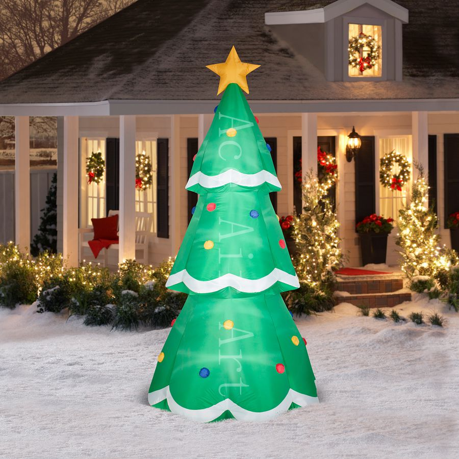 Arbre de noël ligné extérieur avec étoiles gonflable pour les événements de vacances de décoration