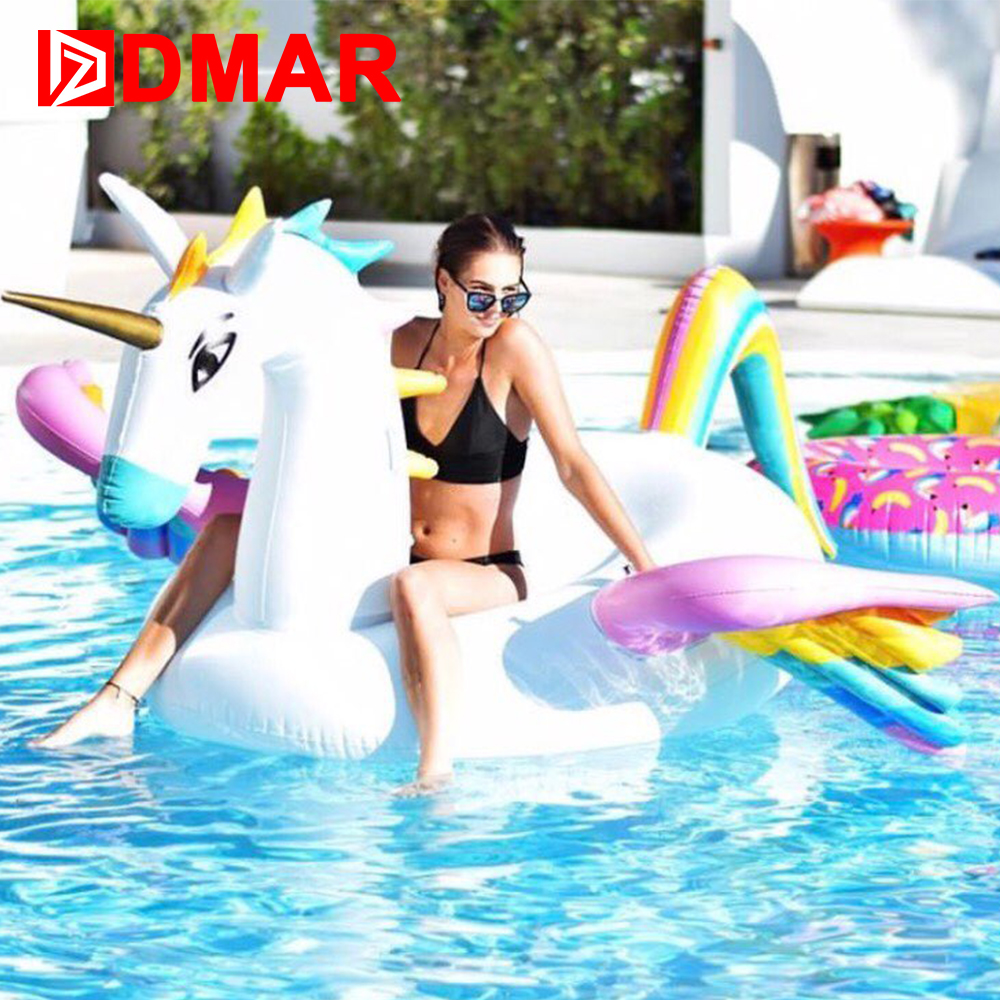 DMAR Inflatabl  Pegasus Giant Pool Float 250cm Inflatable Mattress Rideable Mat Swimming Ring Circle Beach Sea Water Party Toys inflatable giant pegasus floating rideable swimming pool toy float raft floating row white swan floating row for holiday water