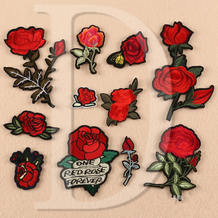 bb04df26904c 1 PCS Rose Embroidered Iron on Patches for Clothing DIY Stripes Clothes  Patchwork Sticker Custom Flowers Applique  Z 1-11